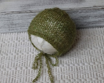 Knitted  Olive Green mohair bonnet,New Born Olive Green mohair bonnet