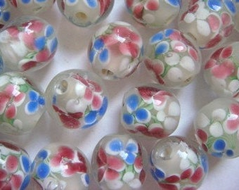 10 White colourful flowers lampwork glass beads