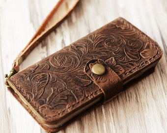 Genuine Leather iPhone x / 8 / 8 Plus / iPhone 7 / 7 Plus / wallet case - Italian distressed oiled leather (Brown Pattern)