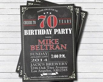 70th birthday invitation. surprise 70th birthday invite. Man, woman. Retro chalkboard Red. Printable 30th 40th birthday invitation. AB003