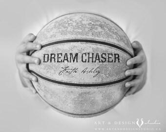 Basketball Poster, Personalize Girls Name Art, Girl Room Sport Decor, Custom Basketball Decor, Personalized Basketball Sports Art Print