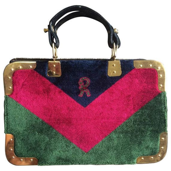 Roberta Di Camerino Vintage Roberta Di Camerino Red, Green, And Navy Chevron Velvet Doctor Bag