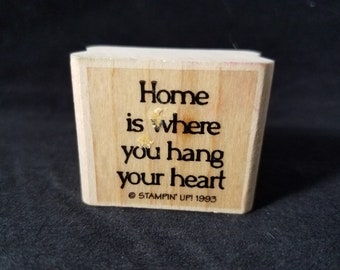 Home is where you hang your heart used rubber stamp
