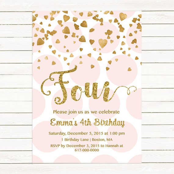 Pink and Gold 4th Birthday Invitation Girl Any Age Pink Gold