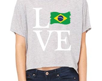 Love Brazil  Womens Shirts Flowy Boxy