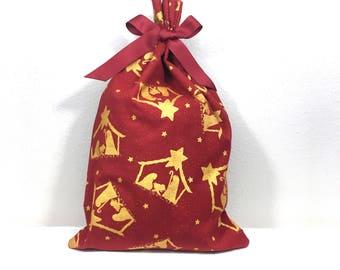 Red and Gold Nativity Metallic Print Christmas Gift Bag, Parent Gift, Baby Jesus, Fabric Gift Bag, Christmas Gift Idea, Gift Wrapping Idea