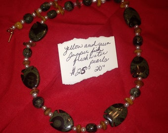 Green and yellow jasper with freshwater pearls necklace