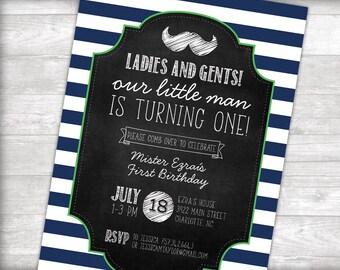 Little Man First Birthday Invitation Printable