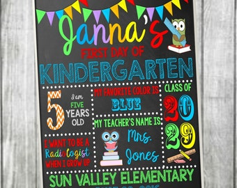First Day of School sign, chalkboard sign, First Day of Kindergarten Sign