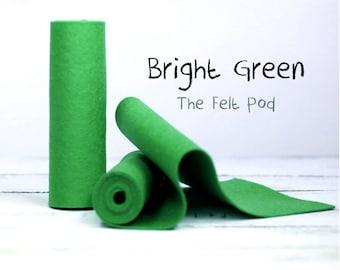 "100 Percent Wool Felt Roll - Wool Felt color BRIGHT GREEN - 5"" X 36"" Wool Felt - 100% Wool Felt"