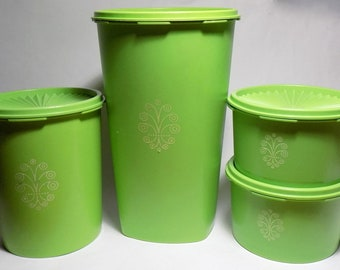1970s 4pc Tupperware Canister Set, Green with Retro Pattern, Tall, Medium, 2 Smalls, with Lids