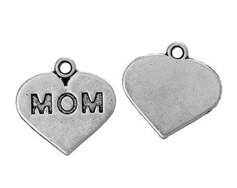 """10 Pieces Antique Silver """"Mom"""" Carved Heart Charms"""