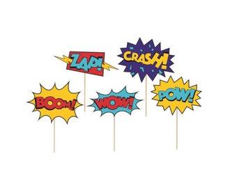 Superhero Cupcake Toppers - Superhero Party Decoration, Superhero Cake Topper, Comic Book Party, Superhero Party Supplies, Party Favor Picks