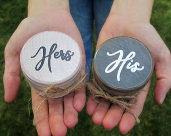His and Hers wood wedding ring box, wood ring box, ring box set, engagement ring box, bride and groom ring boxes, mr and mrs ring boxes