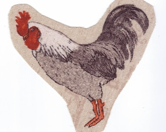 "Images to sew ""ROOSTER"" on the farm yard attention beige background"