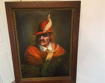 "Musketeer Soldier Oil Painting - EL Stroim ? Signed - 28""x36"" Framed Renaissance (Free Shipping)"