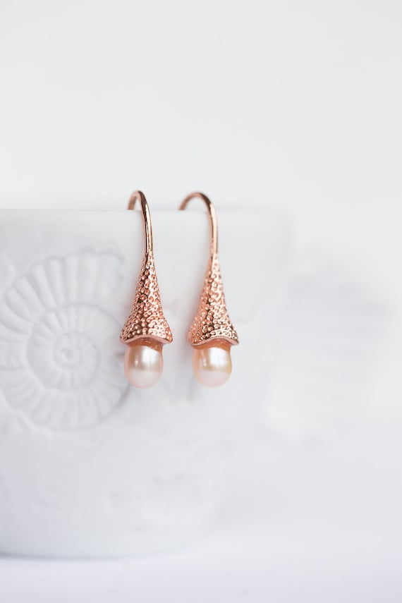pin pearls bridesmaid earrings fiance romantic for pearl gift peach