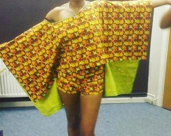 NEW IN: Two piece, shorts & cape top, wax print,  african material, ankara, dashiki, kente print,