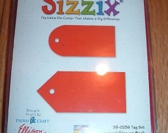 NEW Sizzix TAG SET large red die 38-0236 2 sizes, shapes Works with Cuttlebug