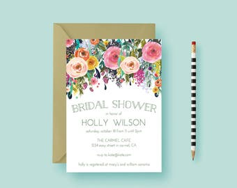 Hand Painted Floral Roses Bridal Shower Invitation - Baby Shower Invite - Pink and Blush Roses Floral, Printable or Printed - FREE SHIPPING!