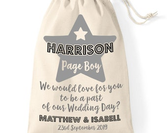 Will you be our Page Boy, personalised cotton gift bag. Wedding day page boy gift.