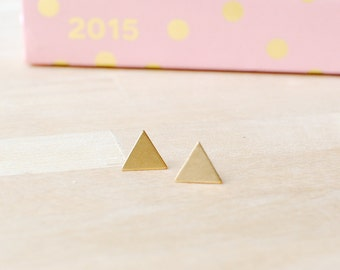 Tiny Gold Earrings | Geometric Triangle Earrings | Nickel Free Earrings | Delicate Gold Jewellery