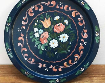 Tray retro vintage with floral print handpainted