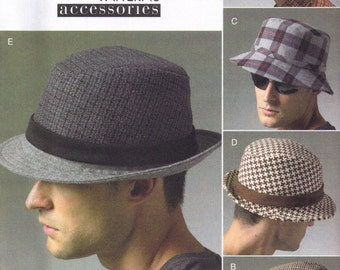 Mens Fedora Hat Sewing Pattern Bucket and Newsboy Cap Vogue 8869 Head Accessory Uncut Factory Folded