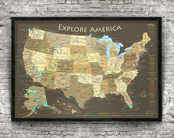 national park map explore america map framed usa map with map pins ready to