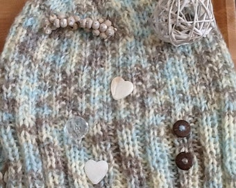 Hat  and Neck Warmer Set, Buttoned Hat, Buttoned Neck Warmer, Coconut Buttons Cowl, Coconut Buttons Hat, Motif Hat and Cowl Set, Soft Hat,