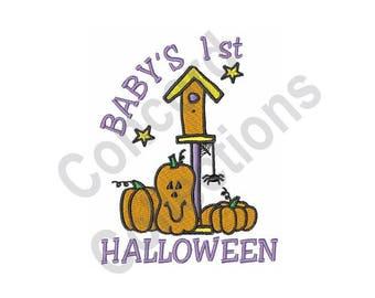 Baby's 1st Halloween - Machine Embroidery Design, Halloween, Pumpkins, Baby