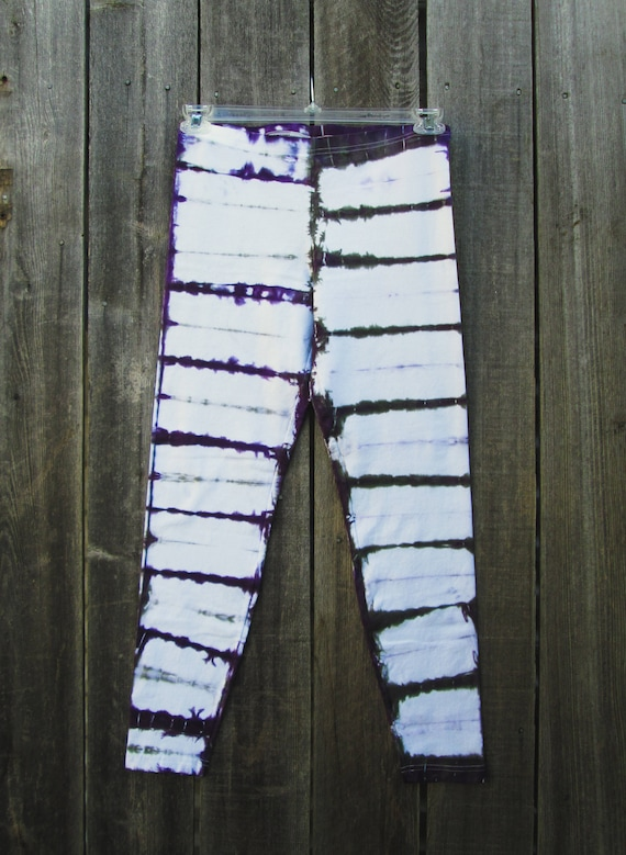 Tie Dye Leggings/Hand Dyed/Womens Tie Dye/Purple & Grey/Eco-Friendly Dying
