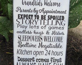 Grandparents House Rules Wood Sign, Wall Hanging, Grandchildren, Kids, Subway Art, Grandma, Grandpa