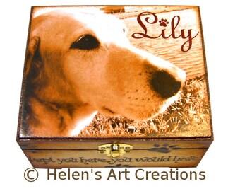 Pet Memorial Box, Pet Keepsake Box, Pet Urn, Personalized Keepsake Box, Photo Keepsake Box, Custom Pet Photo, Animal Box