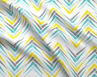 Teal and Yellow Abstract Chevron Fabric - Wheat Chevron 2 By Beththompsonart - Modern Geometric Cotton Fabric By The Yard With Spoonflower