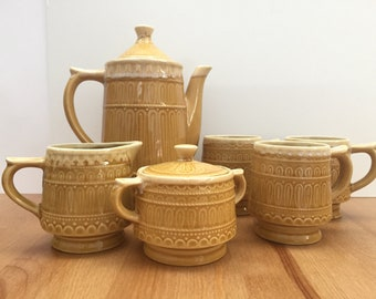 Vintage Ceramic Tea Coffee Pot Set Mugs Creamer Sugar 8 Pieces Harvest Gold Japan