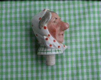 Vintage Lady Head Bottle Stopper or Spout Liquid Would Come Out Her Nose Replacement or Craft Supply