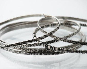 Set of 6 Antique Stacking Bangles | 1920s Sterling Silver Bangles Set | Victorian Revival Bracelet Set | Narrow Stacking Bangles 925 Silver