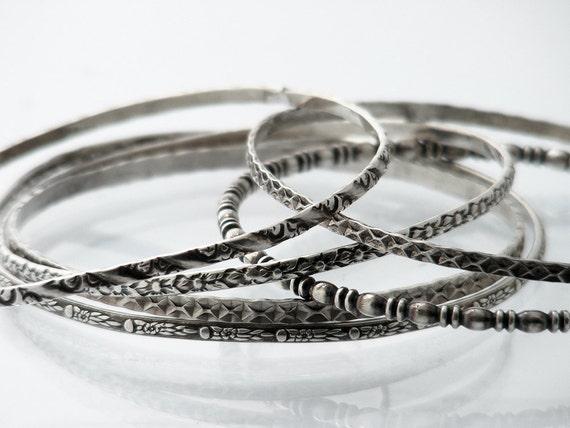 Set of 6 Antique Stacking Bangles   1920s Sterling Silver Bangles Set   Victorian Revival Bracelet Set   Narrow Stacking Bangles 925 Silver