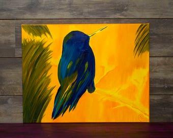Hummingbird Yellow Blue