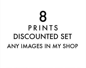 wall art sale, custom discounted print set, any 8 prints, your choice, photography set, kitchen decor, baby nursery decor, LA art prints