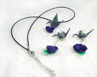 Completo collana e orecchini origami con fiore blu - Set gioielli damigella nozze - qualcosa di blu - pendenti sposa e girocollo Giappone