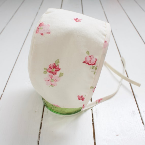 Ivory with pink flowers baby bonnet
