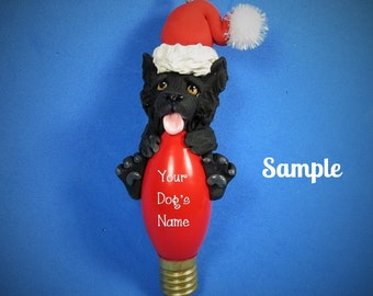 Black Border Collie Santa Dog Christmas Holidays Light Bulb Ornament Sally's Bits of Clay OOAK PERSONALIZED FREE with  your dog's name