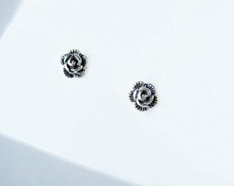 Rose Earrings, Tiny Rose Studs, Sterling Silver Rose Earrings