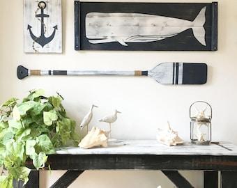 Large, NAUTICAL ART SET, 4 pc. set, rustic beach house decor, Wood Nautical Decor, Oar decor, Whale decor, Nautical decor, Nautical nursery