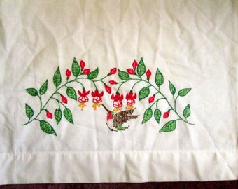 Single Vintage Pillowcases, Hand Embroidery, Crochet Trim, 10 Available