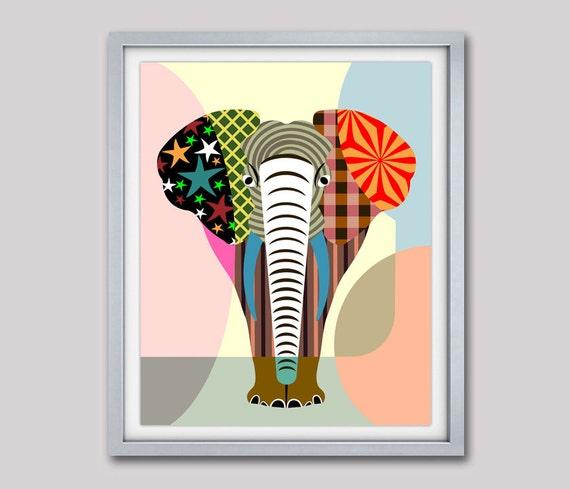 Elephant Artwork, Elephant Wall Art Print, Elephant Decor, Elephant Poster, Elephant Wall Decor, Elephant Pattern, Elephant Painting