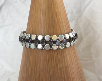 beaded bracelet silver beaded bracelet bling beaded bracelet silver hexagon beads backlit gem duo beads shiny bracelet