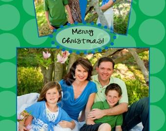 Blue, Green Holiday Photo Card - Digital, Printable